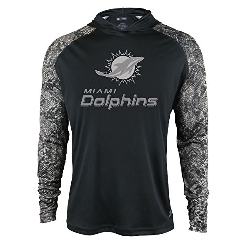 NFL Miami Dolphins Men's Zubaz Light Weight Synthetic Hood with Digital print Sleeves, Large, - Mens Miami Fashion