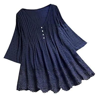 Women Vintage Jacquard Three Quarter Lace V-Neck Plus Size Top T-Shirt Blouse