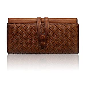 Wallets for Women Genuine Leather Handmade Ladies Woven Wallet Purse Knitting Card Holder