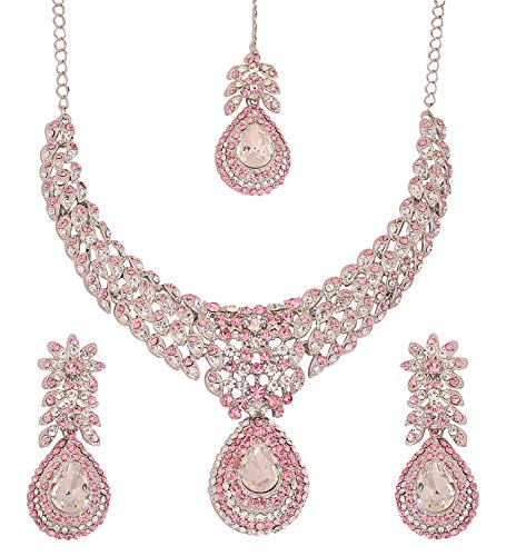 Touchstone White Tone Indian Bollywood White Rhinestones Stunning Bridal Jewelry Necklace for Women
