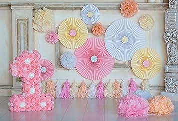 Leyiyi 5x3ft Photography Backdrop Kids Happy Birthday Background Sweet  Girls 1st B Day Banner Tassel Paper Flower Ballons Rose Tissue Ball Cake  Table
