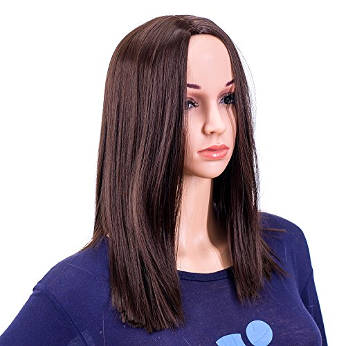 SWACC 14-Inch Short Straight Middle Part Hair Wig Medium Length Synthetic Heat Resistant Wigs for Women with Wig Cap (Dark Brown-4#) -