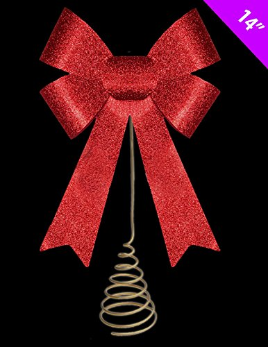 14 Inch Christmas Tree Top Decoration - RED Glitter Bow Tree Topper by Christmas Shop (Tree Shop Topper Christmas Tree)