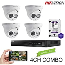 Hikvision 4CH Combo: 4 x 4MP High Defination IP Cameras(DS-2CD2342WD-I) Security System, 4 Channel NVR (DS-7604NI-E1/4P) With 1TB HDD Installed, Built-in PoE Plug and Play, Hikvision Camera and NVR