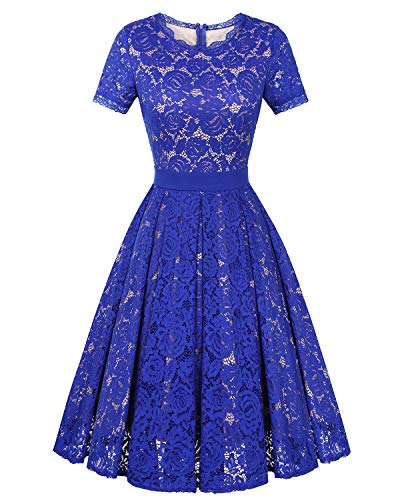 Genhoo Women's Bridesmaid Vintage Tea Dress Floral Lace Cocktail Formal Swing A-Line Dress with Short Sleeve (Royal Blue,S)