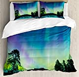 Aurora Borealis Bedding Duvet Cover Sets for Children/Adult/Kids/Teens Twin Size, Sky Over Lake Surrounded Forest Woods Hemisphere Print, Hotel Luxury Decorative 4pcs, Violet Blue Lime Green Purple