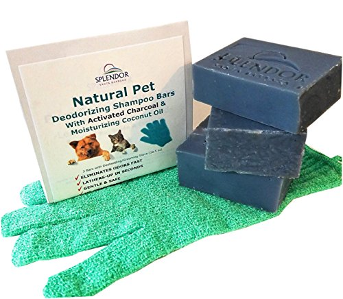 Natural Dog Cat Pet Deodorizing Shampoo Bar Kit With Activated Charcoal & Moisturizing Coconut Oil Odor Remover for Skunk, Poison Ivy/Oak and Bacteria FREE Deshedding / Grooming (Naturals Deodorizing Shampoo)
