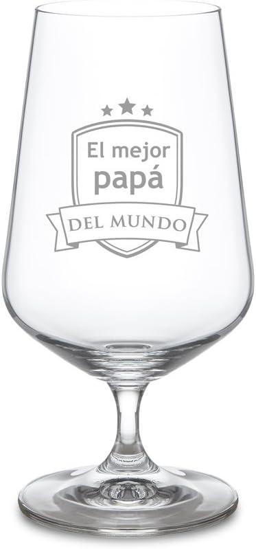 AMAVEL Copa de Cerveza con Escudo Grabado, para El Mejor Papá del Mundo, Diseño Tulipa, Capacidad 0,4 litros