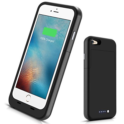 iPhone 6 6s Battery Case,3800mAh Portable Charging Case for iPhone 6s 6 (4.7 inch) Extended Battery Charger Case Rechargeable Power Protection case Backup Juice Bank - (Black)
