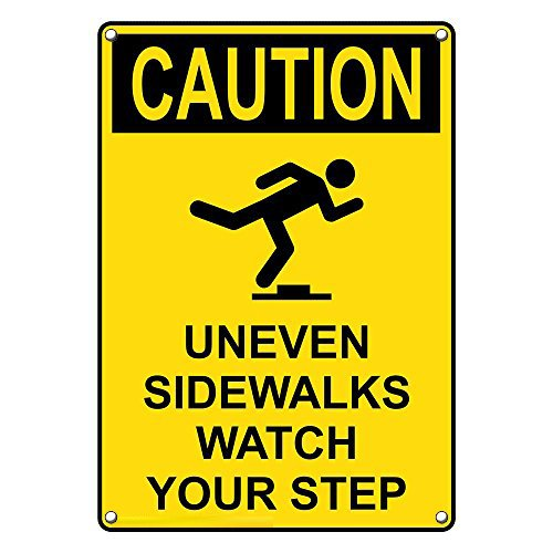 Weatherproof Plastic Vertical OSHA CAUTION Uneven Sidewalks Watch Your Step Sign with English Text and Symbol by SignJoker