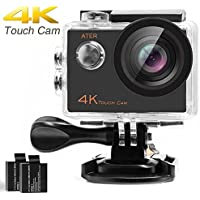 ATER 4K Touch Action Camera WIFI Ultra HD 16MP 30m Underwater Waterproof Camcorder 170 Degree Wide Angle 2 inch LCD Screen Sports Cam with 2.4G Remote Control and 19 Mounting Kits