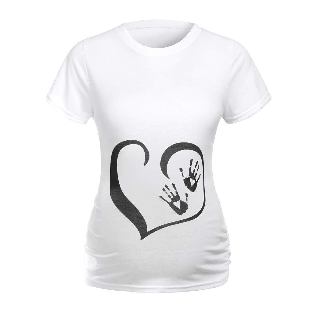 Women Maternity Clothes Short Sleeve Cartoon Pregnancy T-Shirt Top Blouse (M, White)