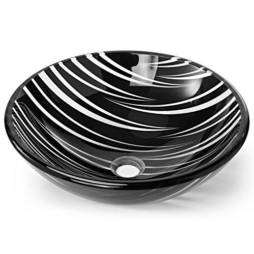 Miligoré Modern Glass Vessel Sink - Above Counter Bathroom Vanity Basin Bowl - Round Black & (Black Clear Sink)