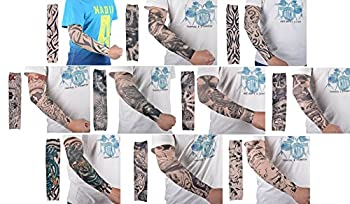 AshopZ Bundle 10pc Pack Fake Temporary Tattoo Sleeves Art Arm Stockings, Plain