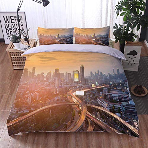 VROSELV-HOME 3 PCS King Size Comforter Set,Highway Intersection with City Business Downtown,Soft,Breathable,Hypoallergenic,with 1 Pillowcase for Kids Bedding