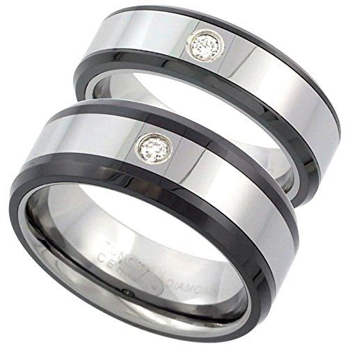 2-Ring Set 6 & 8mm Tungsten Diamond Wedding Ring Him & Her Beveled Black Ceramic Edges Comfort fit, size 9.5 by Sabrina Silver