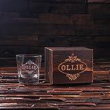 Personalized Whiskey Scotch Glass Set with Wood Box Gift