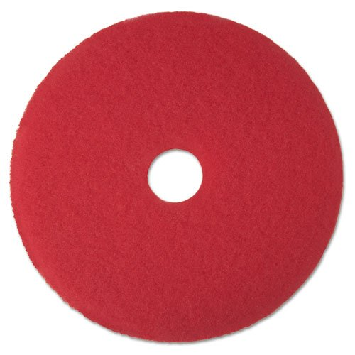 3M Low-Speed High Productivity Floor Pads 5100, 16-Inch, Red - Includes 5 pads per case. - Red Buffer Low Speed Floor