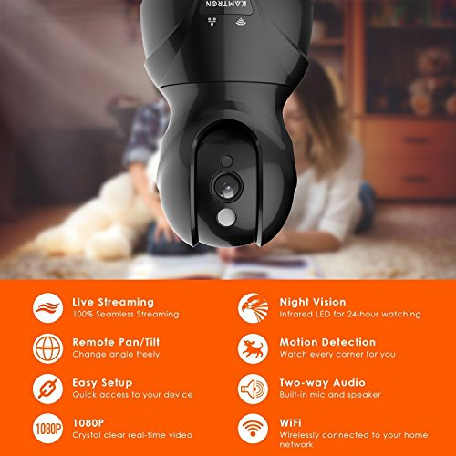 Wireless Security Camera with Two-way Audio - KAMTRON 1080P HD WiFi Security Surveillance IP Camera Home Baby Monitor with Motion Detection Night Vision, Black by KAMTRON (Image #5)