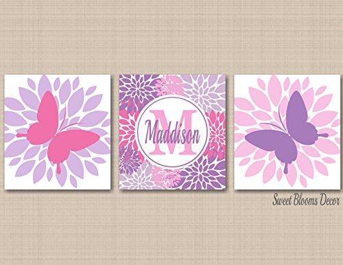 Butterflies Nursery Wall Art Pink Purple Lavender Butterflies Wall Decor Butterfly Girl Room Wall Art Butterflies Birthday Decor Bathroom Bugs Flowers-UNFRAMED Set of 3 PRINTS (NOT (Bug Nursery Art)