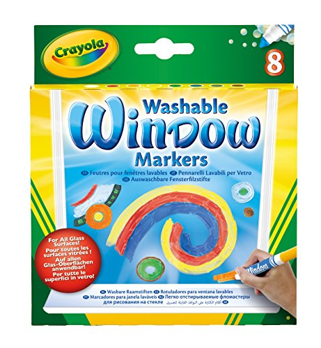 Price comparison product image Crayola; Washable Window Markers; Art Tools; 8 Different Colors; Bright, Bold Colors; Works on All Glass Surfaces