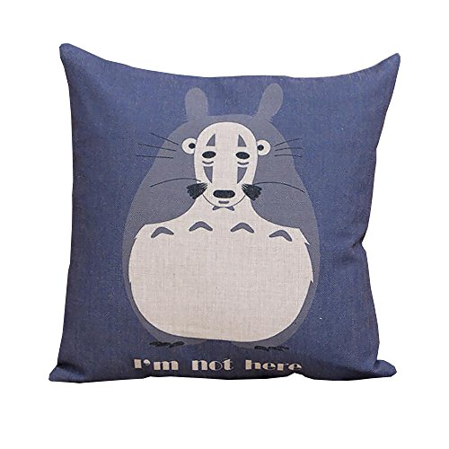 (ME COO 2016 Vintage Cartoon Blend Decoration Pillow Case Cute Cartoon Totoro cat Cushion Home Sitting Room Office Zipper Decorative Throw Pillows cojines 17 Inches 17 Inches)