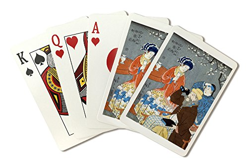 An American, French, and Chinese persons Japanese Wood-Cut Print (Playing Card Deck - 52 Card Poker Size with - Woodcut Chinese