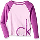 Calvin Klein Little Girls' Oversize Logo Tee, Lilac, 5