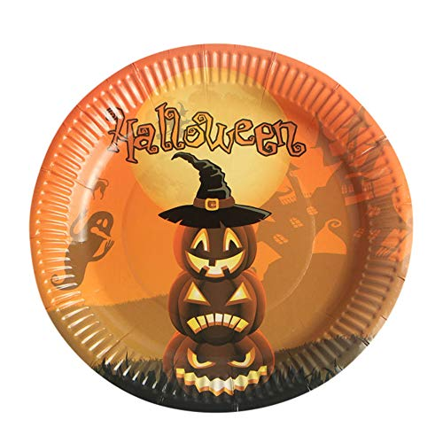 10Pcs Halloween Paper Plates Disposable Round Paper Dishes Halloween Party Supplies (Multicolour B) ()