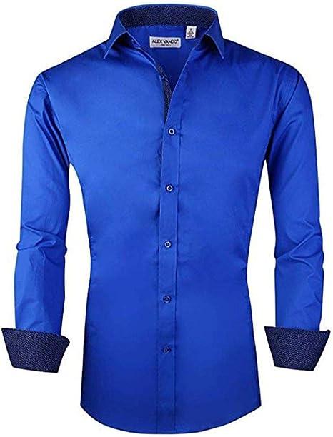 YFSLC-Studio Camisa De Manga Larga Hombre,Hombres Azules Plaid Elegante Slim Fit De Manga Larga De Vestimenta Formal Casual Camisetas Cómodas De Llevar Ropa Masculina Establece: Amazon.es: Deportes y aire libre