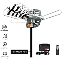 Outdoor TV Antenna, VIEWTEK Amplified HD Digital HDTV Antenna 150 Mile Range Motorized 360 Degree Rotation, Antennae 2 TVs Support - UHF/VHF Signal Wireless Remote Control - Longer 33FT Coax Cable