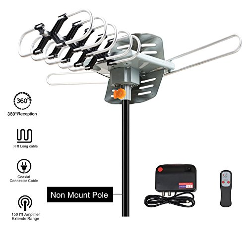 Price comparison product image Outdoor TV Antenna,  VIEWTEK Amplified HD Digital HDTV Antenna 150 Mile Range Motorized 360 Degree Rotation,  Antennae 2 TVs Support - UHF / VHF Signal Wireless Remote Control - Longer 33FT Coax Cable