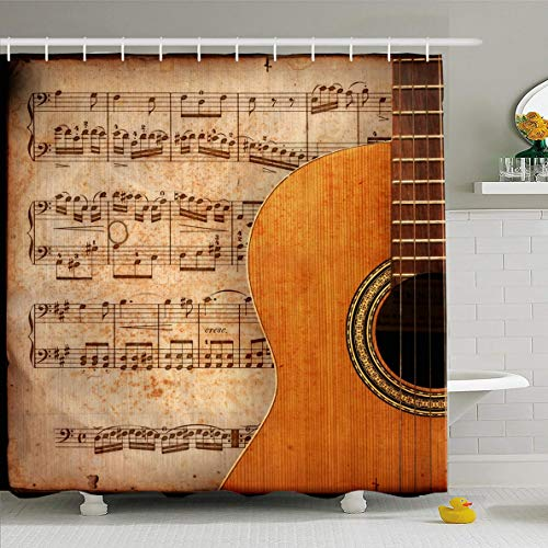 Ahawoso Shower Curtain 60x72 Inches Tune Instrument Ancient Music Sheet Rusted Old Copy Yellow Guitar Vintage Song Rock Notes Closeup Waterproof Polyester Fabric Bathroom Curtains Set with ()