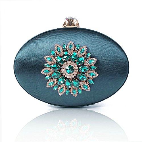 Damara Aire Vintage Mujeres Bolso De Fiesta Con Diamante Forma De Tetera,Azul Marino Verde Oscuro