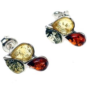 Multicolor Amber Sterling Silver Fan Earrings