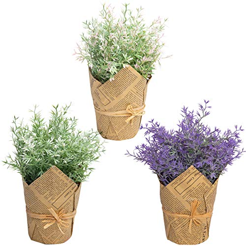 The Bloom Times Set of 3 Small Potted Artificial Plants Fake Plants in Pot for Home Office Desk Farmhouse Greenery Table Centerpieces Decor