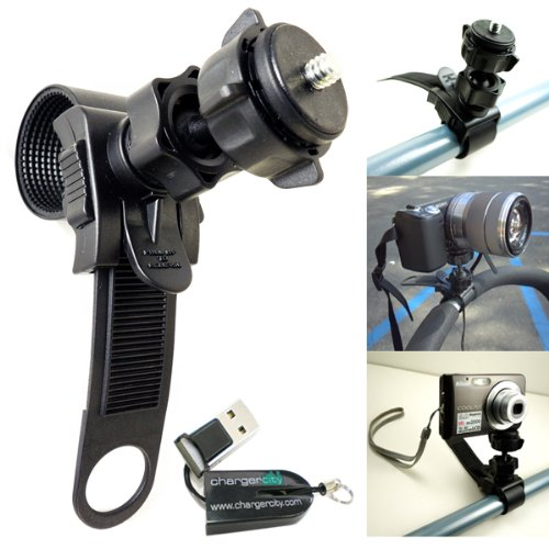 ChargerCity Swivel Adjustment HD Action Camera Camcorder Tripod Mount for ATV Snowmobile Motorcycle Bicycle Bike Bar Boat Helm with Tripod 1/4 20 Screw Thread. Compatible with all Sony HDR NEX Polaroid XS Panasonic HX ION Air Pro 2 3 Nikon Leica Canon Contour GoPro Hero Veho Muvi Kodak PlaySport Compact Camera Models **Includes FREE ChargerCity Micro SD Memory Card Reader** (Camera Motorcycle Mount Video)