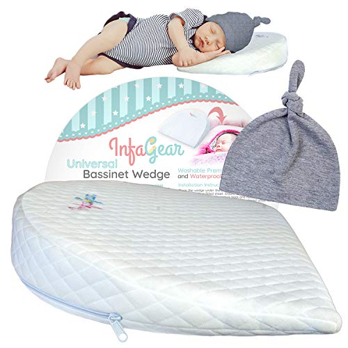 Bassinet Wedge Pillow for Baby Reflux & Bonus Beanie Hat | 12-Degree Incline for Congestion & Colic Relief | Baby Wedge with 100% Cotton & Waterproof Cover