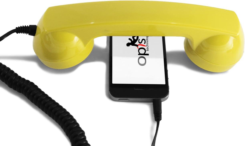 OPIS 60s Micro: Auricular Retro/Auricular Estilo teléfono Retro/Combinado Retro/Combinado Estilo teléfono Retro para móviles, Smartphones y Tablets (Amarillo)