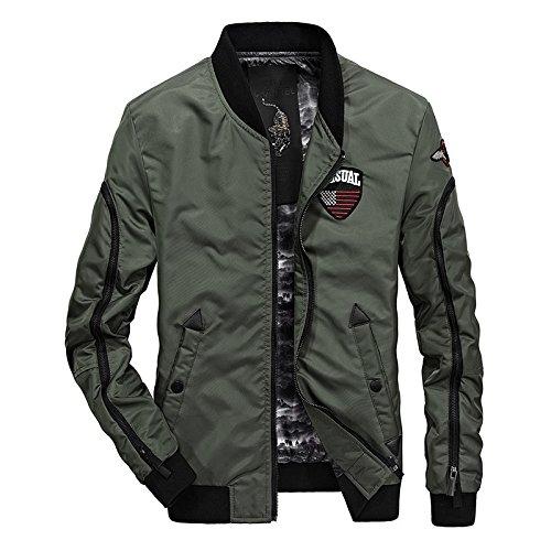 Hombres chaqueta hombre chaqueta casual en una capa de secado rápido hombres y creativa a los hombres béisbol ,66058 VERDE EJÉRCITO ,XL