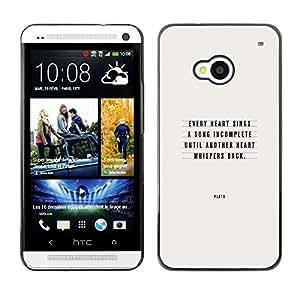 Be Good Phone Accessory // Dura Cáscara cubierta Protectora Caso Carcasa Funda de Protección para HTC One M7 // Plato Love Quote Text Inspirational