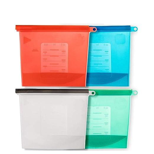 Bolsas de almacenamiento de silicona reutilizable extra grande (4 ...