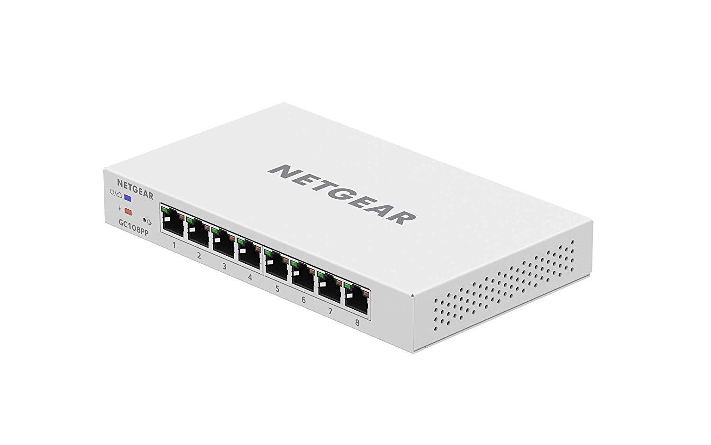 NETGEAR Insight Managed 8-port Gigabit Ethernet 126 W PoE+ Smart Cloud  Switch with NETGEAR FlexPoE Power (GC108PP)