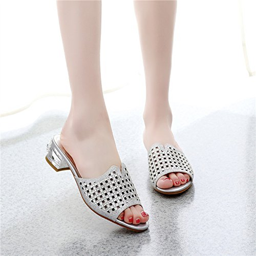 ad96f98112f62 Amazon.com   GTVERNH Sandals Women Summer Middle Heel Dew Toe Water Drill  Outer Wear Cold Towage Spring And Summer Simple Personality Beach Female  Shoes ...