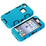 iPhone 4 Case,iPhone 4s cases, NVHANZ Hybrid 3 Layer Hard Case Cover with Silicone Shell Case for iPhone 4 /4S (Blue/Black)