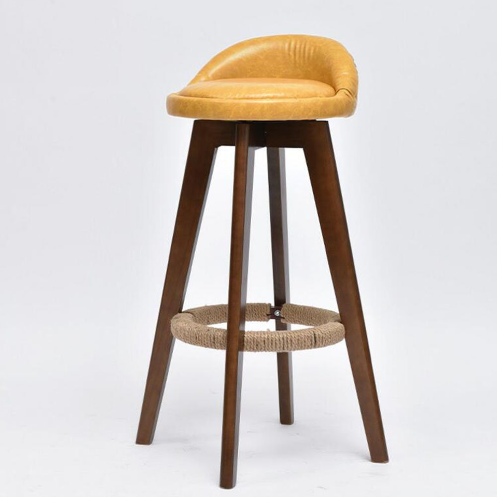 Yellow CJC Bar Stools High Foot redate Multifunction Stool Surface Flax Home Office Furniture Kitchen (color   Yellow)