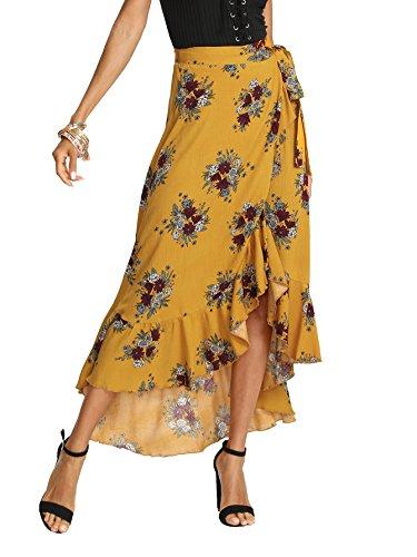 Milumia Women's Bohemian Floral Print Wrap Skirt Long Maxi Skirt Yellow X-Small (Reversible Skirt Stretch)