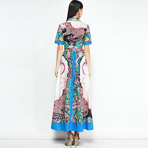 Dress Polo Dresses Women`s Short Neck cotyledon Long Printed Sleeve 8wBqP5g5