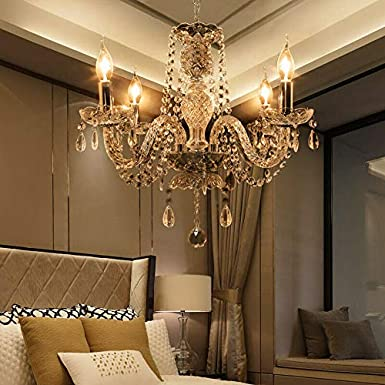 Samger Lujosa lámpara de techo de 4 brazos K5 Lámpara de techo de cristal E14 Lámpara colgante para la sala de estar Dormitorio Entrada en el pasillo: Amazon.es: Iluminación