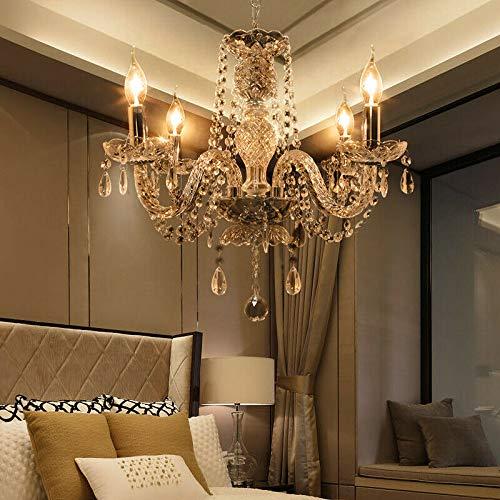 Samger Lujosa lámpara de techo de 4 brazos K5 Lámpara de techo de cristal E14 Lámpara colgante para la sala de estar Dormitorio Entrada en el pasillo